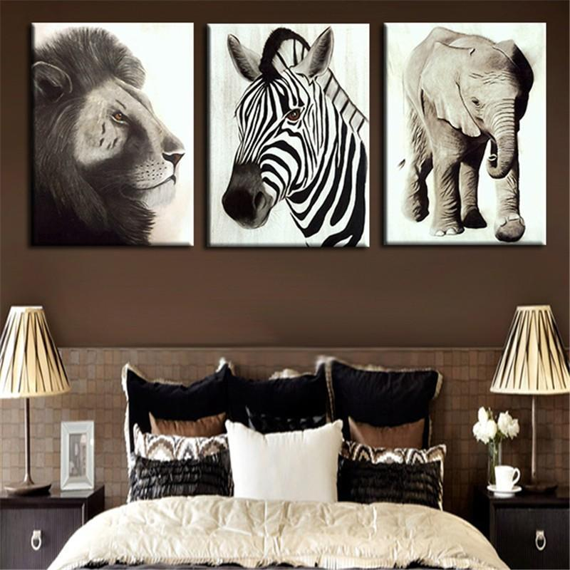 3Pcs Wall Painting Art Picture Lion Elephant And Zebra Animal Home Decoration Prints