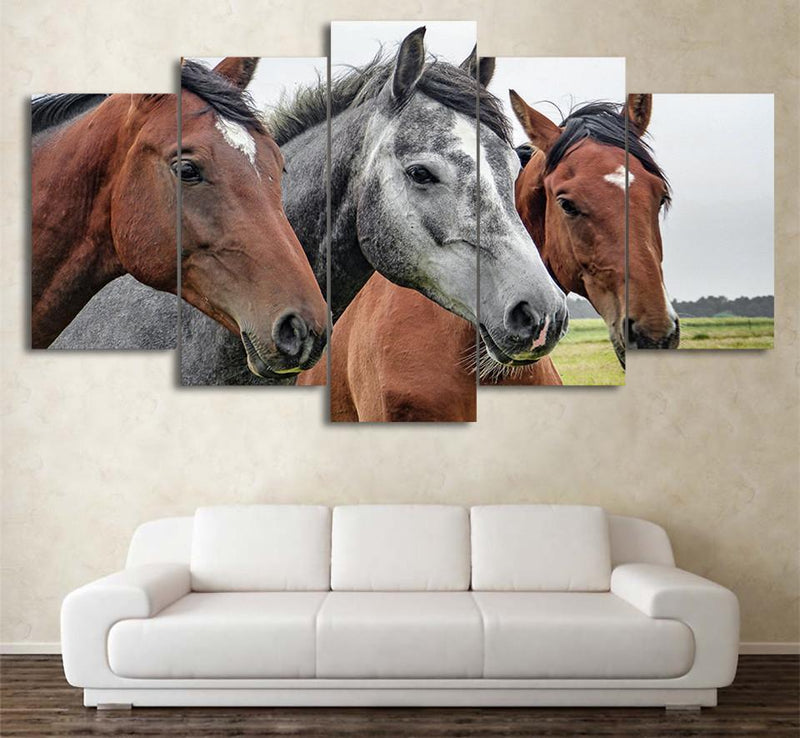 5 Panel Art Pictures Animal Canvas Painting HD Printed Horse Poster Abstract Painting