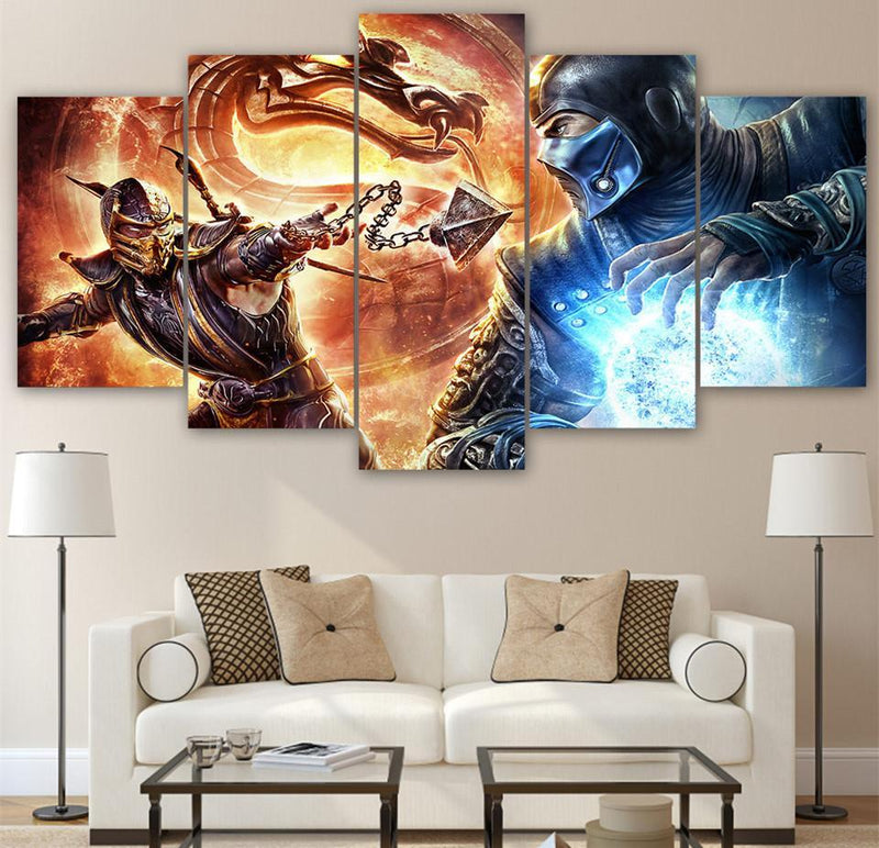 5Planes Canvas Art Modern Abstract Print Mortal Kombat PicturesWall Picture