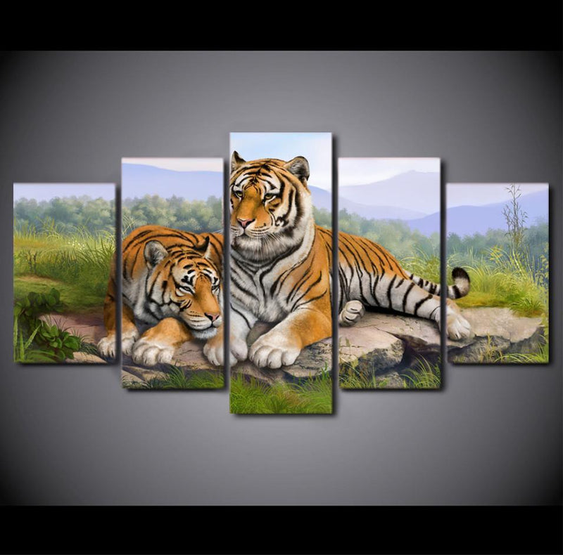 5Planes Canvas Art Couple Tiger Paintings Wall Pictures