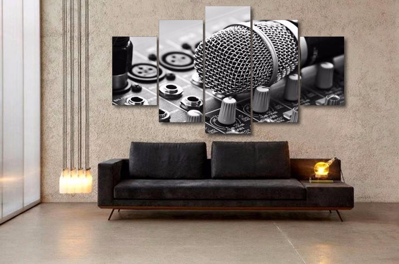 5 piece Music microphone Painting Canvas Print room decor print poster picture canvas
