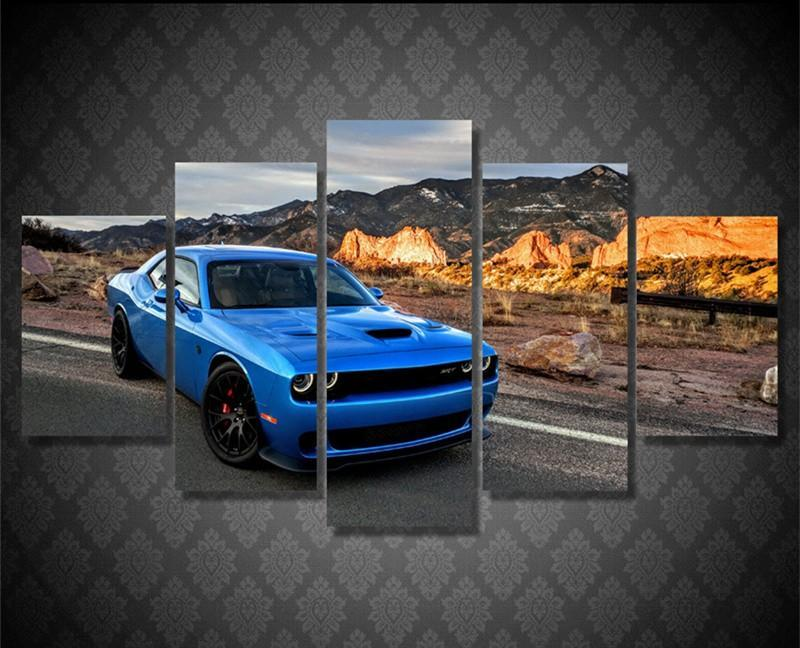 5Piece Wall Art Pictures Cuadros Decor Blue Car Posters