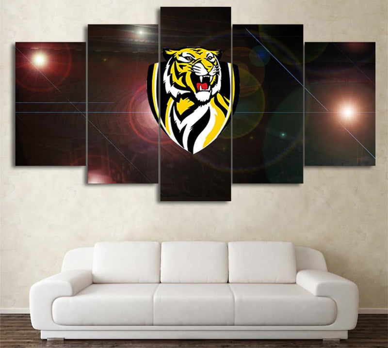 5 Planes Canvas Art AFL team Richmond Logo poster Prints wall pictures