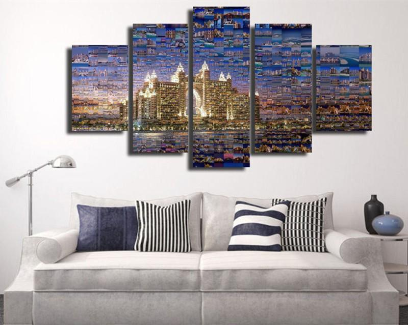 5Piece Wall Canvas Painting Art Pictures Dubai Travel Art Painting