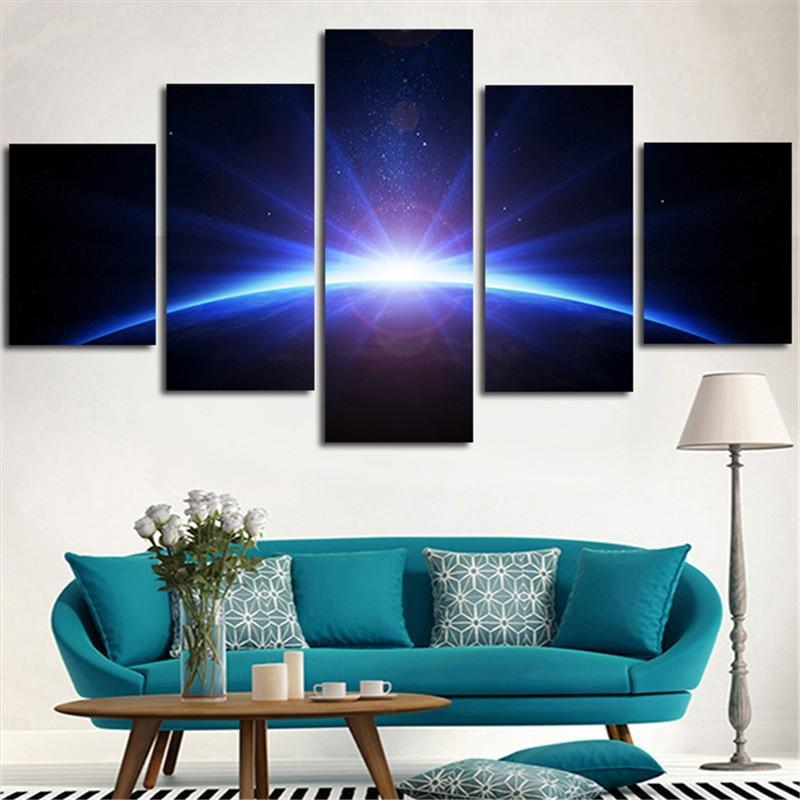 5Plane Wall Painting Modular Picture Light Sun Shine Rise The Earth Canvas