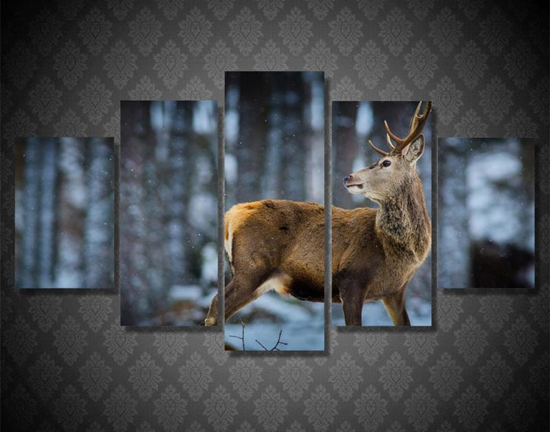 5Piece Wall Canvas Art Poster Printed Brown Deer Snow Mountain Canvas