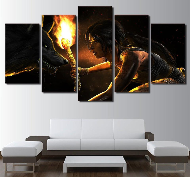 5 piece Girl And Wolf HD Print Movie Posters And Prints Canvas Art