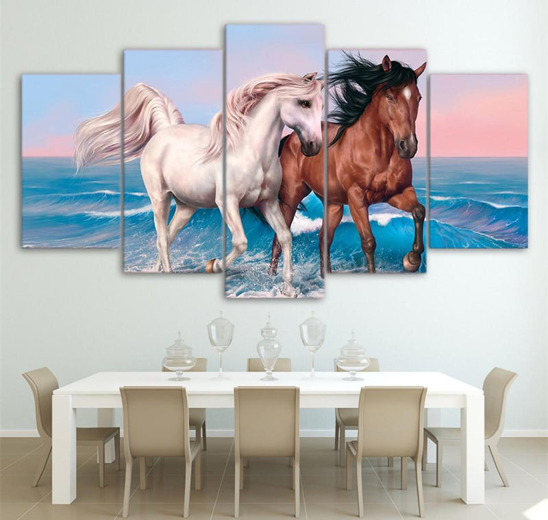 5 Piece Canvas Wall Art Horses Painting Animal Pictures Poster Printed