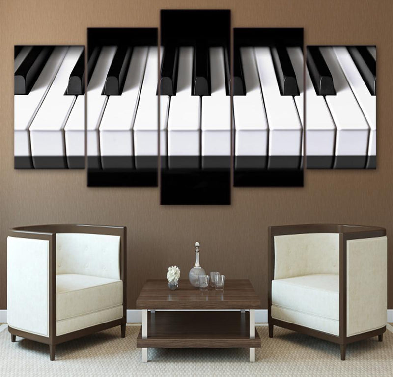 5Piece Canvas Picture Black And White Piano Poster Painting
