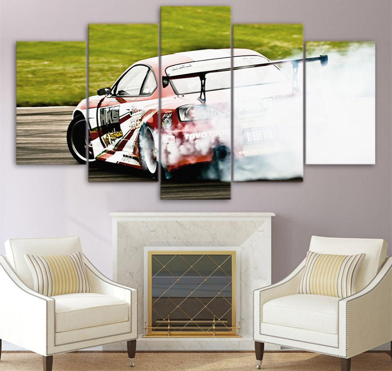 5Piece Canvas Printed Racing Sports Car Speed Drift Painting On Living Room Pictures