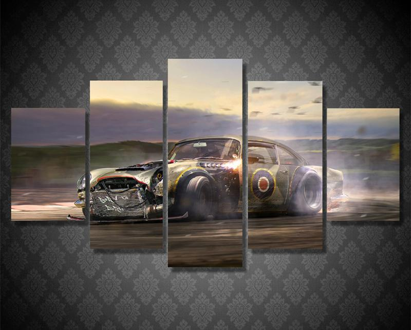 5Piece Wall Art Pictures Crashing Car Mountaion Road Canvas Painting Art Modular Pictures