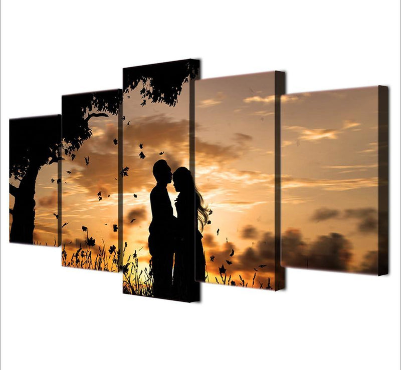 HD Printed 5 Piece Canvas Painting Sunset Tree Couple Shadow Artwork Artwork