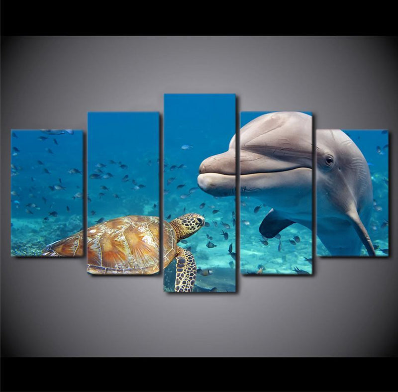 5Planes Canvas Art Picture Print Posters Animal Print Paintings Dolphins Canvas Painting
