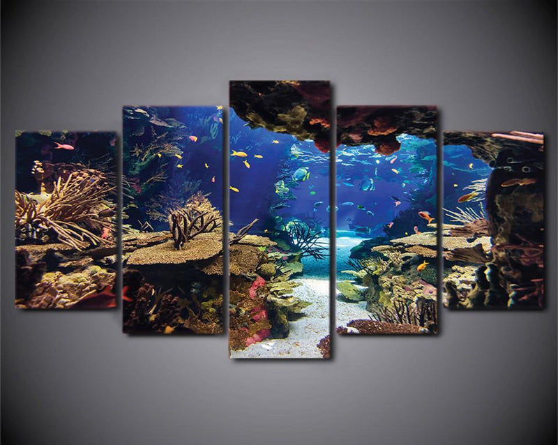 HD Printed 5 Piece Canvas Art Underwater Sea Fish Coral Reefs Canvas Print Room Decor Wall Poster