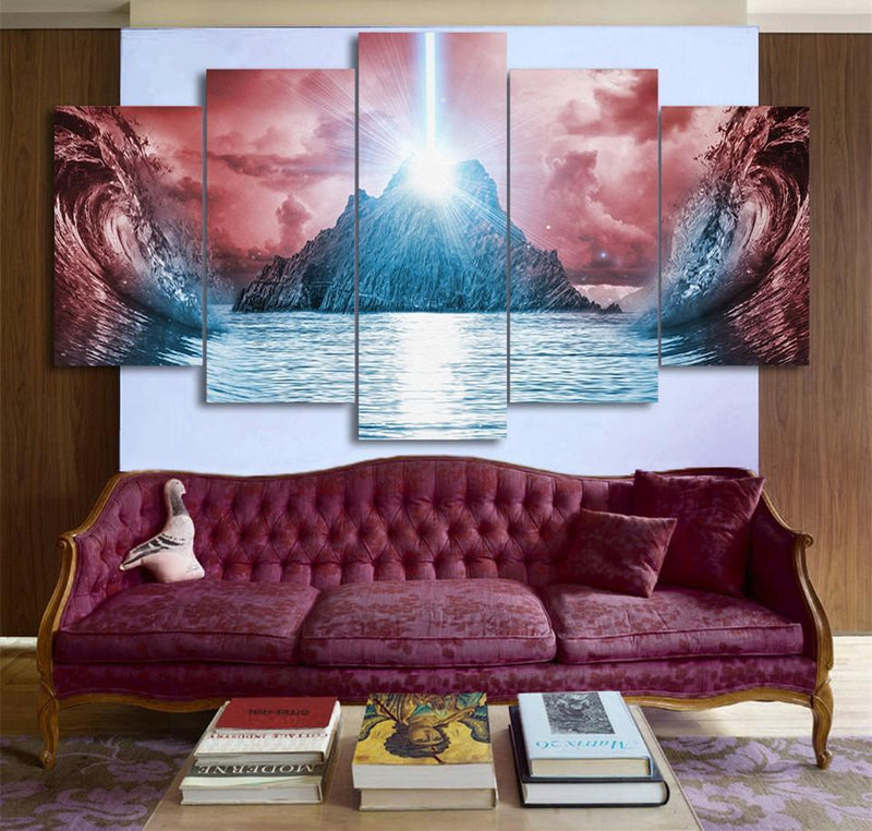 5 Panel Canvas Art Landscape Mountain Paintings Anime Print And Posters