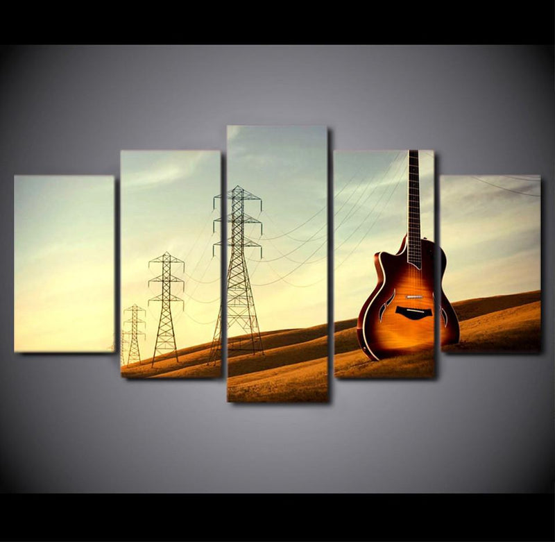 5Piece Canvas Art HD Printed Vintage Guitar Painting Music Instrument Wall Pictures