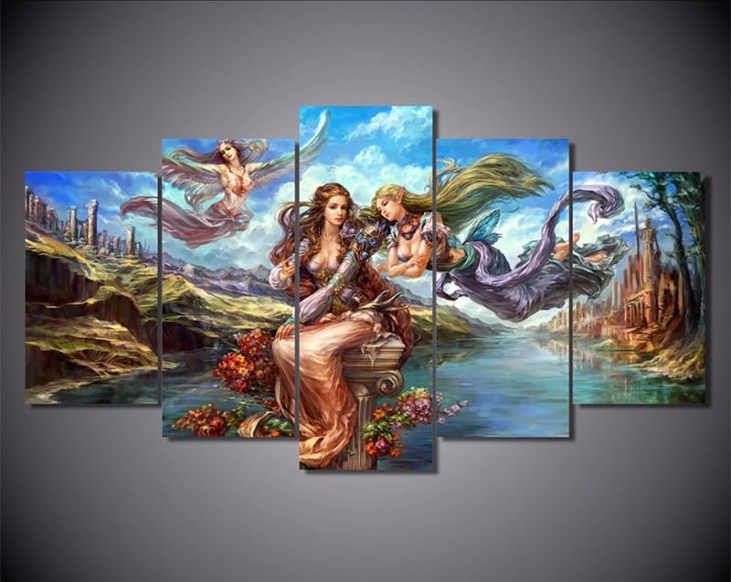 5Piece Wall Painting Home Decor Anime Poster