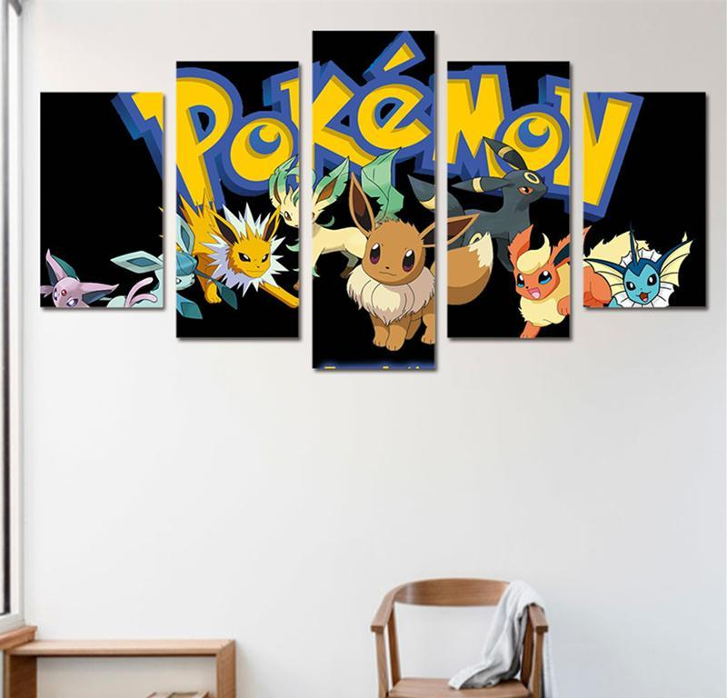 Wall Pictures Art Painting 5 Piece Canvas Art Home Decor HD Print Cute Pokemon Anime Kids Wall Art