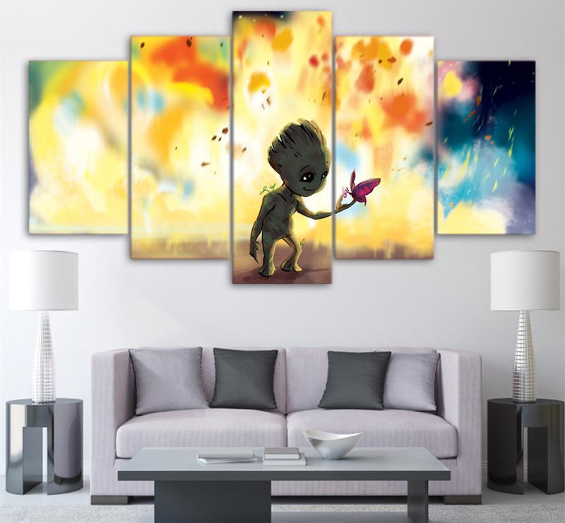 5Piece Canvas Art HD Printed Movie Poster Groot  Painting Wall Pictures