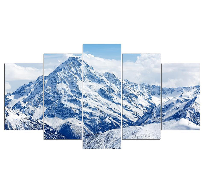 5Piece Canvas Paint White Snow Mountain Poster Prints Wall Painting