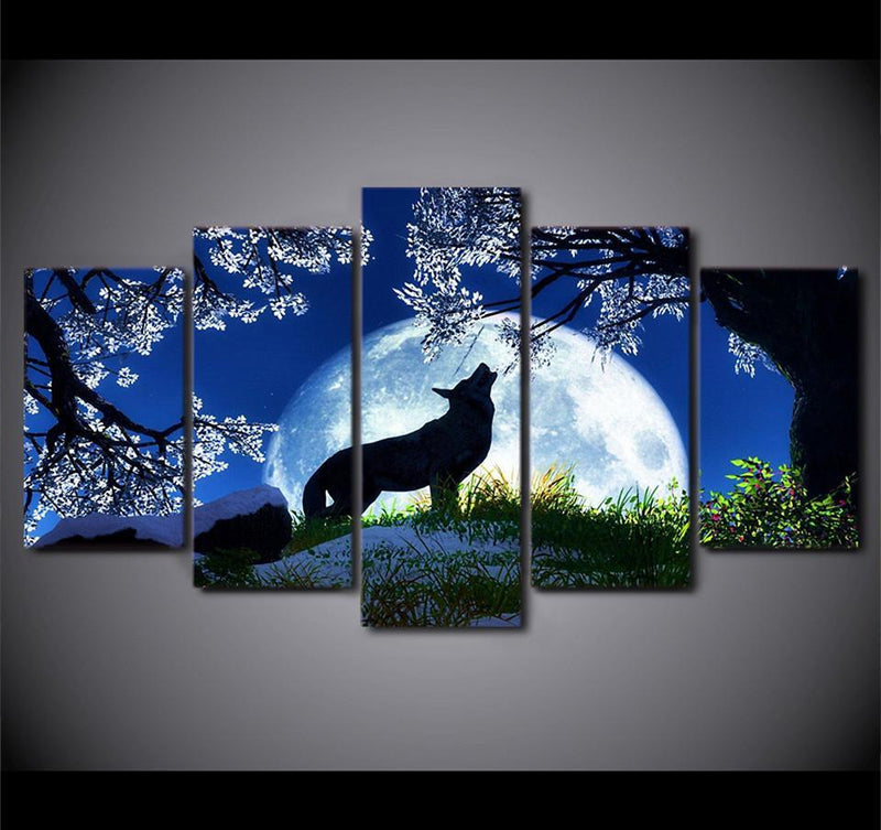 5Piece Canvas Art Paintings Howling Wolf Blue Moon Cherry Blossoms Night Pictures