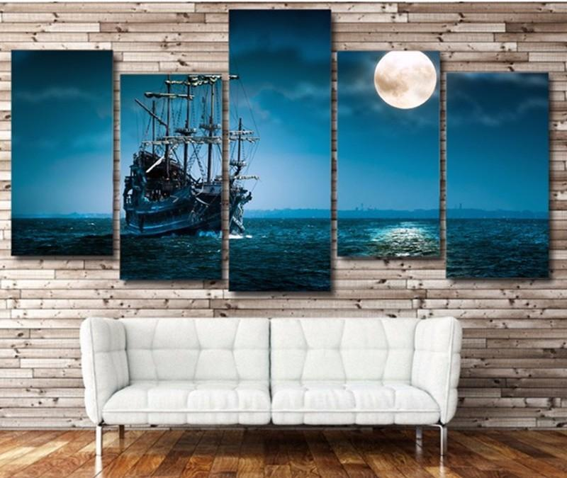 5Piece Wall Art Painting Canvas HD Printed Fantasy Ship Boat Poster