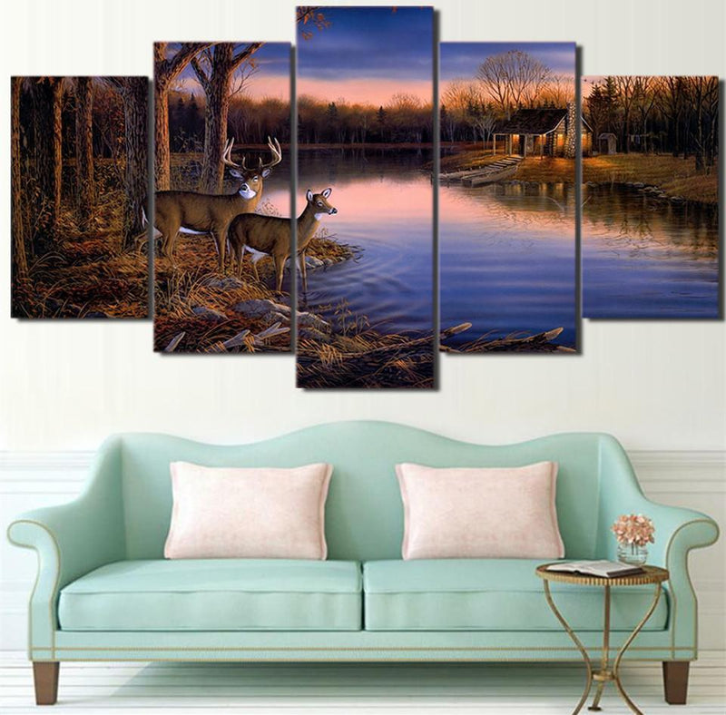 5Planes Canvas Art Modern Painting Deer Picture Wall Art Animal Poster