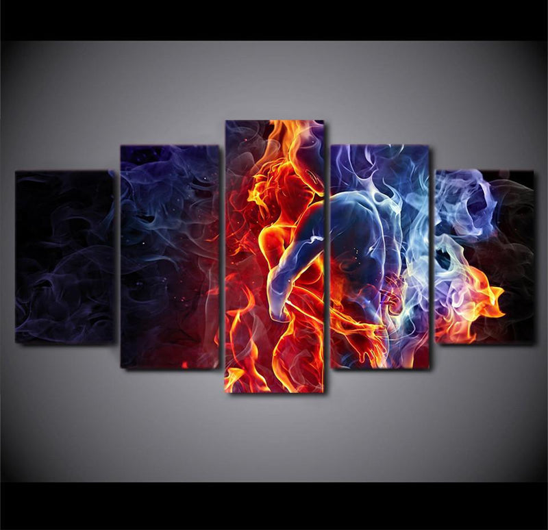 5Piece Canvas Art Printed Flame Figures Human Hug Pictures Abstract Painting