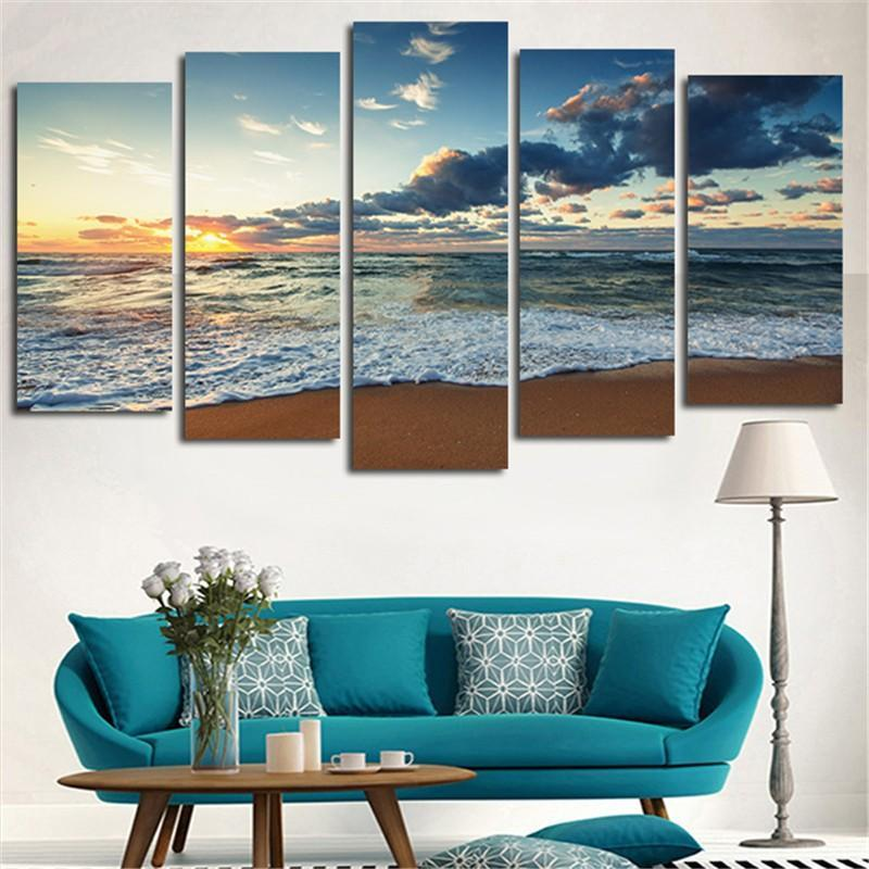 5pcs Wall Art Printed Canvas Painting Sea Beach Landscape