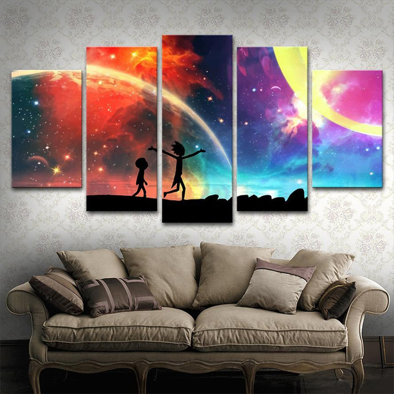 5 Panels Canvas Painting rick and morty Wall Art Painting Home Decor