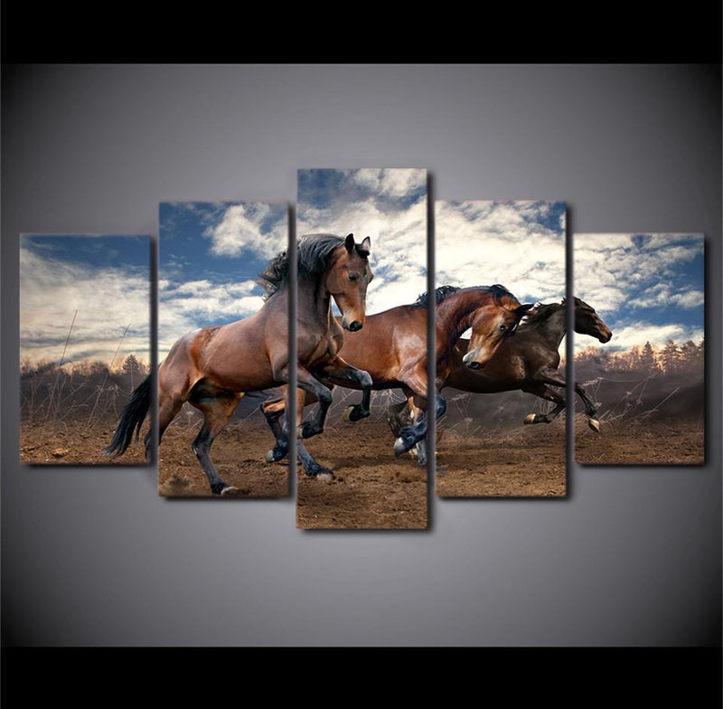 HD Printed 5 PieceCanvas Galloping Wild Black Horses Painting