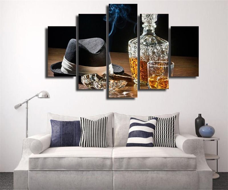 5Piece Canvas Art Hd Printed Gentleman Canvas Oil Painting