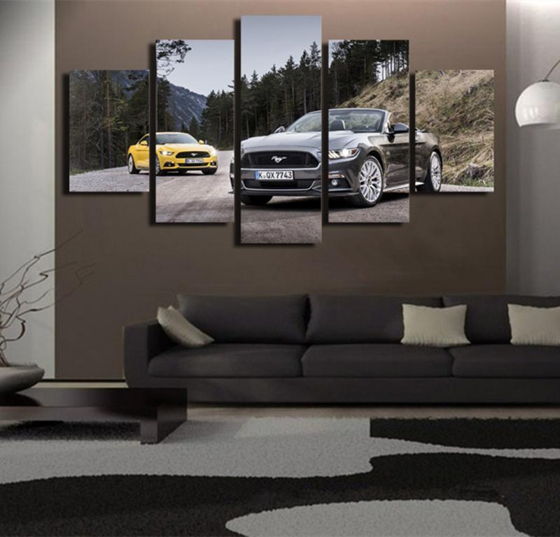 5Piece Wall Art Picture Car Mountain Road Forest Poster Canvas Painting