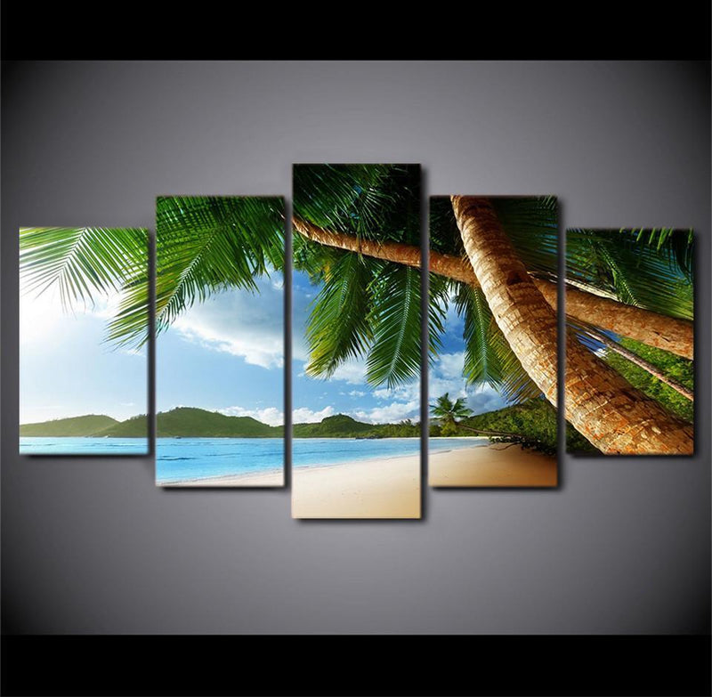 HD Printed 5 Piece Canvas ArtPaintings Landscape And Beach Coco Tree Canvas Print Painting