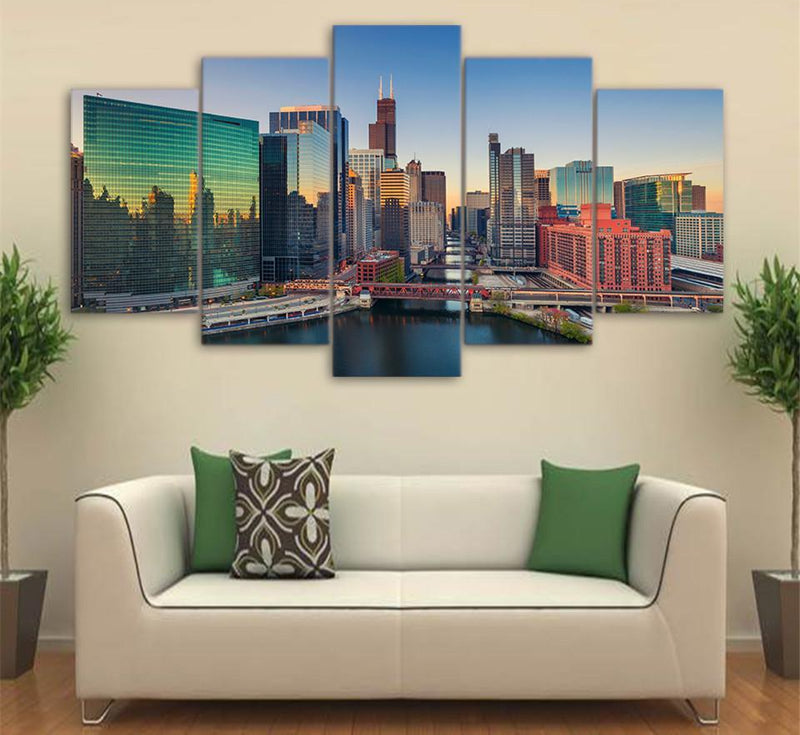 5Piece Canvas Picture City Building Skyscrapers Poster Painting