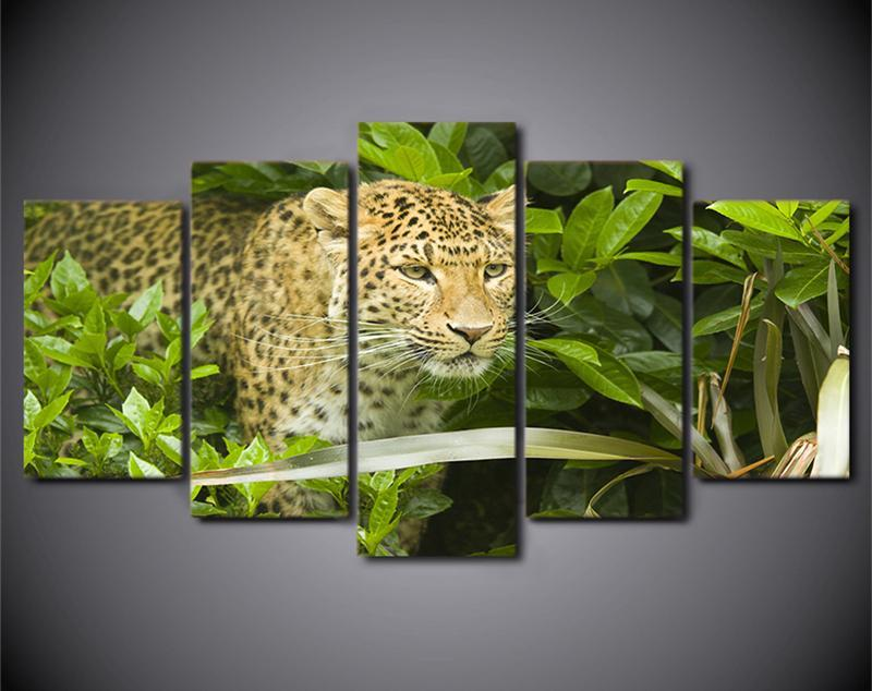 5Planes Printed Poster Animal Bush Leopard Paintings Wall Art Canvas Picrures