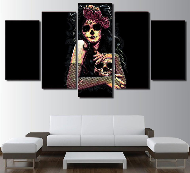 5PieceCanvas Wall Art Prints Day Of The Dead Face Skull Girl Painting Wall Pictures