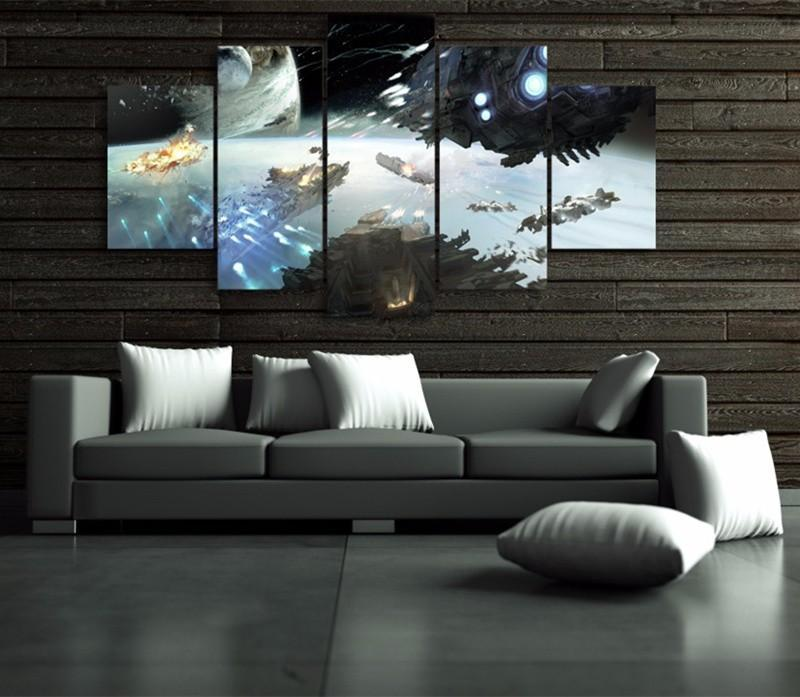 5Piece Wall Art Orbital Warfare Room Paintings For Wall Modular Art Picture