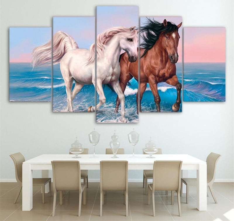 HD Printed 5 PieceCanvas Art Galloping Black and White Horses Painting