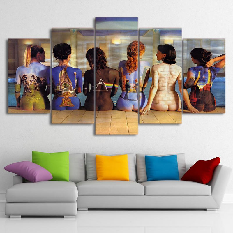 5 piece canvas art pink floyd back painting wall pictures for living room