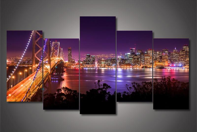 5Plane Home Decoration Wall Painting Landscape San Francisco Night Bridge Morden Modular On Canvas