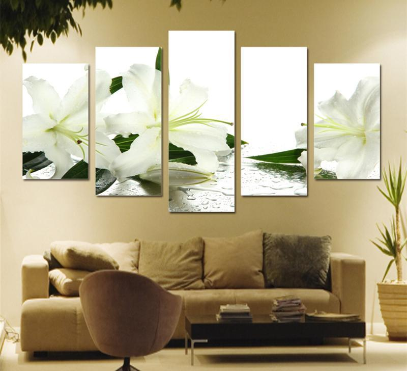5Piece Canvas Poster Printed White Lily Flower Art Painting