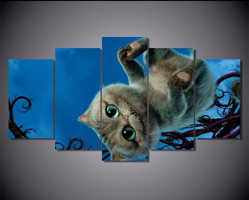 5Panels Canvas Art Picture Wall Painting Cat Alice The Movies Catoon Paintings