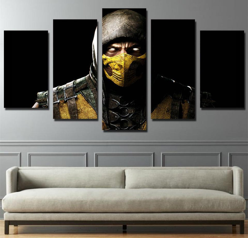 5 Panel Frame Canvas Art Movie Posters Prints Comic Mortal Kombat Painting