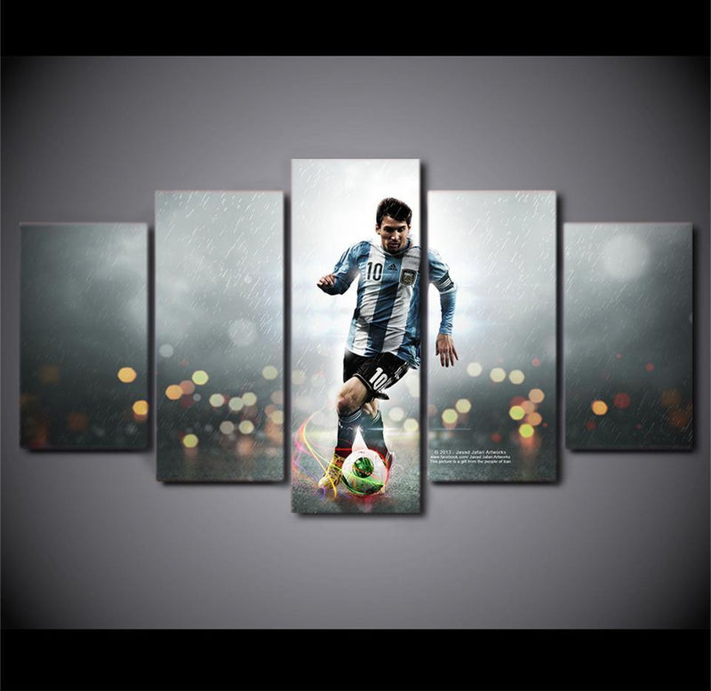 5Piece Canvas Art Painting World Cup Athletes Messi Play Football Paintings