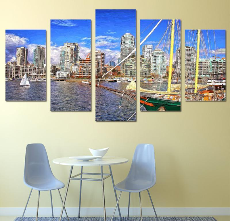 5Piece Wall Prints Canvas Painting City Sight Tall Building Seaside Boat Blue Sky Art Picture