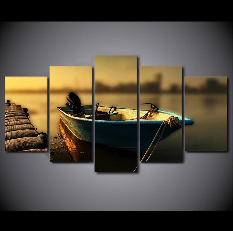 5 Piece Canvas Wall Art Floating Fishing Boat Paintings Vintage Wall Pictures