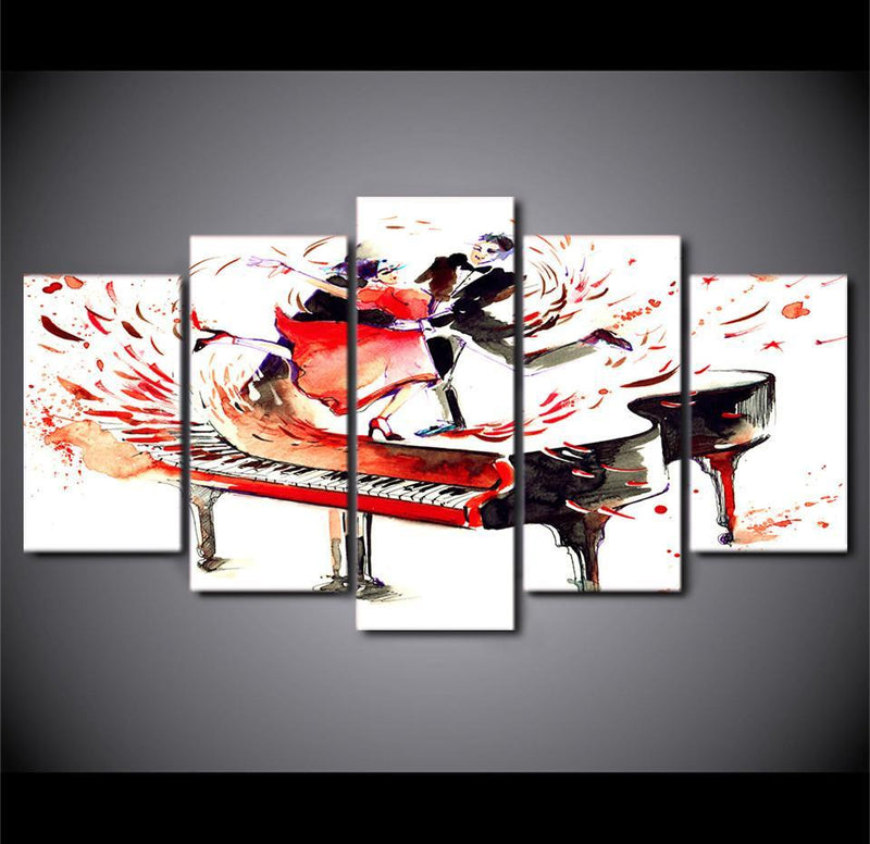 HD Printed 5Piece Canvas Art Abstract Piano Canvas Painting