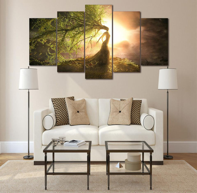 5Piece Canvas Art Green Sun Tree Paintings Landscape Picture
