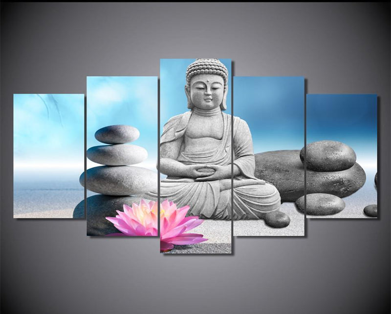 5 Piece Wall Art Canvas Pictures Painting HD Printed Stones With Flower Buddha Statue Prints